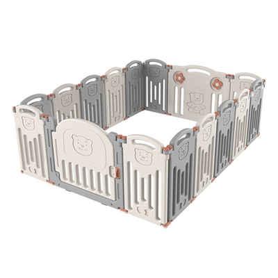 FCH Laufgitter »L14+2«, Laufstall Baby Krabbelgitter Absperrgitter Schutzgitter, 16 Paneele für Kinder mit Tür und Spielzeug