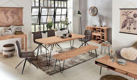 Wohnling Beistelltisch »WL1.547«  Massivholz Akazie BAGLI 30 x 30 cm Wohnzimmertisch Massiv Anstelltisch Holztisch Echtholz Baumkante