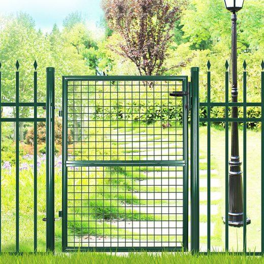 SONGMICS Zauneinzeltür »GGD150G01 GGD175G GGD200G«, Gartentor, Zauntor, mit einer 2-teiligen Tür, BxH: 106 x 150/171/200 cm, runde Türpfosten