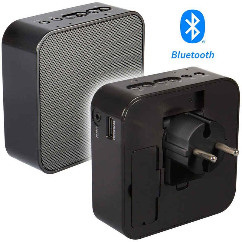 AudioAffairs »PR 001 BK« Steckdosen-Radio (UKW, Bluetooth, UKW, Akku, Powerbank, Aux-In)