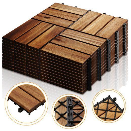 Einfeben Holzfliesen »11x Terrassenfliese Garten Akazie Bodenfliesen 30x30cm Platten Holz Bodenfliese«