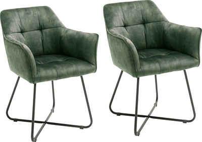 MCA furniture Esszimmerstuhl »Panama« 2er Set, Vintage Veloursoptik mit Keder, Stuhl belastbar bis 120 Kg