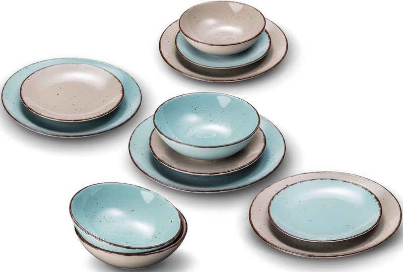 ARTE VIVA Tafelservice »Puro« (12-tlg), Steinzeug, Farbset in Türkis und Beige, vom Sternekoch Thomas Wohlfarter empfohlen
