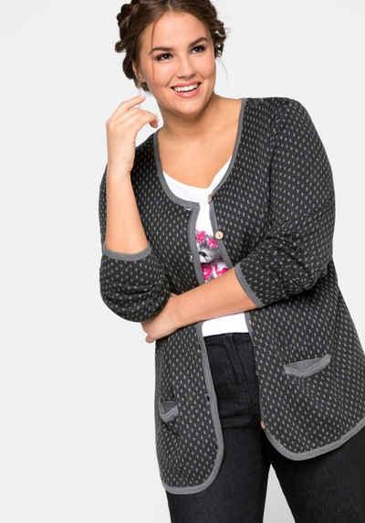 Shirtjacke Jacke Strickjacke Bouclé Optik Damen Baumwolle Gr.44 46 48
