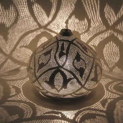 Casa Moro Nachttischlampe »Orientalische Stehlampe Qahira D28 Silber aus Messing, Kunsthandwerk aus dem Orient, echt versilberte Tischlampe wie aus 1001 Nacht, ESL2085«