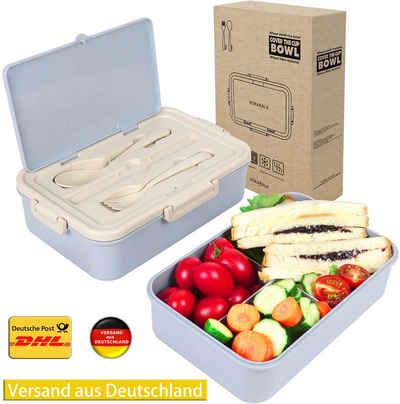 vokarala Lunchbox, Brotdose, Bento Box, Lunchbox, Brotzeitbox mit 3 Fächern und Besteck aus Kunststoff für Kinder und Erwachsene 1000ml Lunch Box mit Unterteilung mikrowellen und Spülmaschinenfest