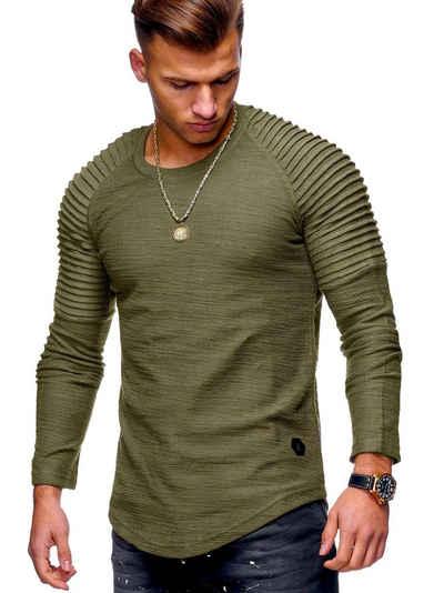 behype Sweatshirt »FISK« mit angesagter Biker-Steppung