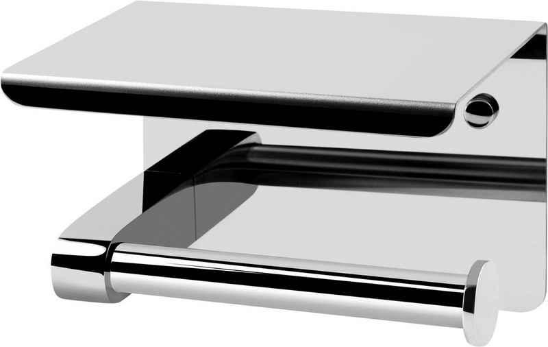 CORNAT Toilettenpapierhalter »Mit Ablage«, 2 verschiedene Befestigungsoptionen und Smartphone-Ablage