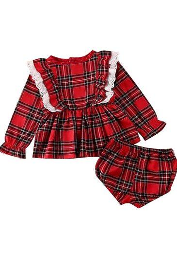 TOPMELON Karokleid Schwestern Outfits, Baby Shorts und Tops Set(2-tlg/set), Mädchen Plaid Prinzessin Kleid