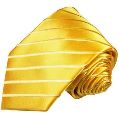 Paul Malone Krawatte »Designer Seidenkrawatte Herren Schlips modern uni gestreift 100% Seide« Breit (8cm), gold 681