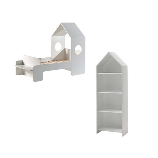 Kindermöbel 24 Komplettschlafzimmer »Kinderzimmer Maxi Vipack Bett +Rolllattenrost +Sitzbank +Regalschrank«
