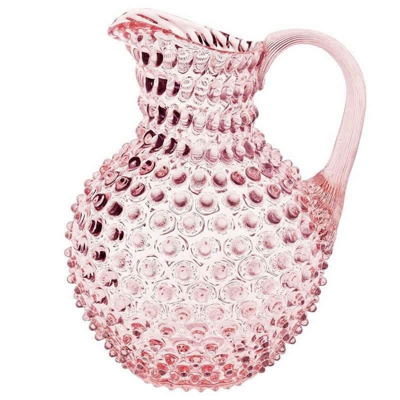 KLIMCHI Wasserkrug »Venezia für 2 Liter; Hobnail Krug / Karaffe aus mundgeblasenem Glas mit Nuppenstruktur«
