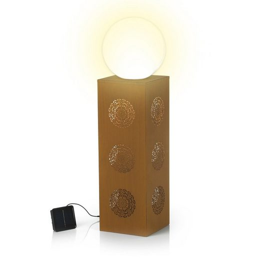 Hoberg Dekosäule, LED-Dekosäule Mandala in Rost-Optik 21 x 21 x 84 cm