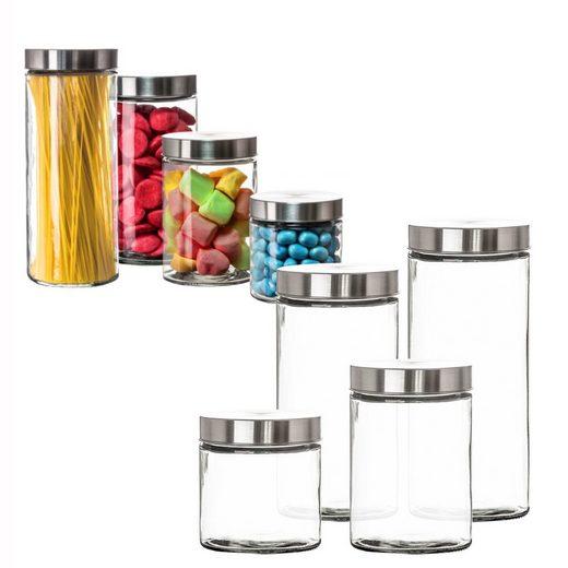 BigDean Vorratsdose »4er Set Glas Schraubglas Lebensmittelglas Edelstahldeckel Schraubverschluss 2,2 / 1,7 / 1,25 /«, Glas, (4-tlg)