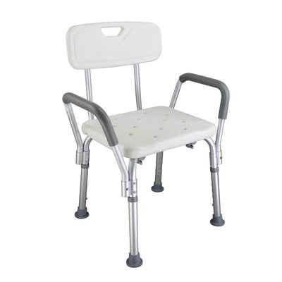 FCH Duschhocker Duschstuhl mit Arm Rückenlehne, belastbar bis 205 kg, Badestuhl Badhocker Höhenverstellbar