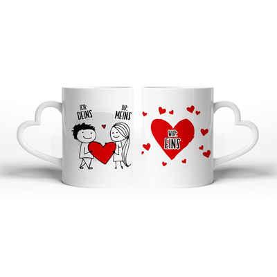 Kreative Feder Tasse »Wir sind eins«, Keramik, Tasse mit herzförmigem Henkel, Keramiktasse, fasst ca. 300ml, Kaffe, Tee, Liebe, Herz, Ehe, Hochzeit, Valentinstag