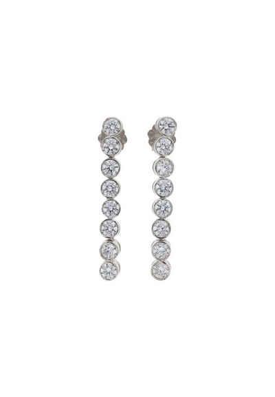 JuwelmaLux Paar Ohrhänger »Ohrhänger Weißgold mit Zirkonia« (2-tlg), Damen Ohrhänger Weißgold 585/000, inkl. Schmuckschachtel