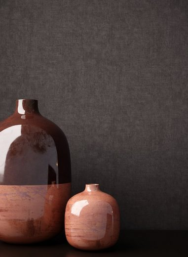 Newroom Vliestapete, Schwarz Tapete Struktur Modern - Uni Einfarbig Anthrazit Grau Monochrom Schlicht für Schlafzimmer Wohnzimmer Küche