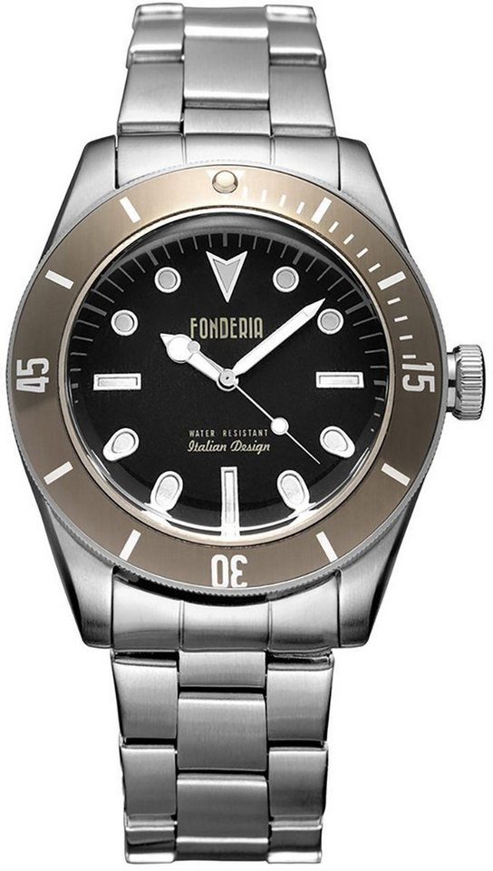fonderia -  Quarzuhr »UAP7A002UNM  Herren Uhr P-7A002UNM«, (Analoguhr), Herren Armbanduhr rund, silber, schwarz