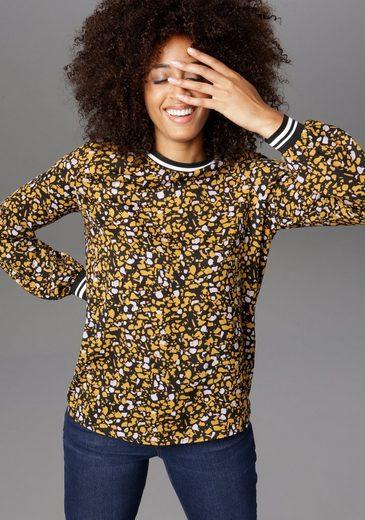 Aniston CASUAL Shirtbluse mit Rippstrick-Bündchen