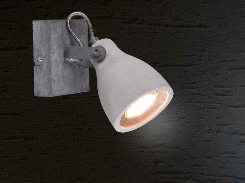 meineWunschleuchte LED Wandstrahler, für innen mit Beton-Strahler dreh- und schwenkbar, Retro Industrial Design, 1-flammig, grau