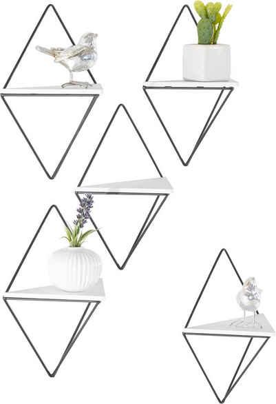 COUCH♥ Wandregal »Rauten Rudel«, Set 5-tlg., COUCH Lieblingsstücke, Dekoregal, Wanddeko, aus Metall