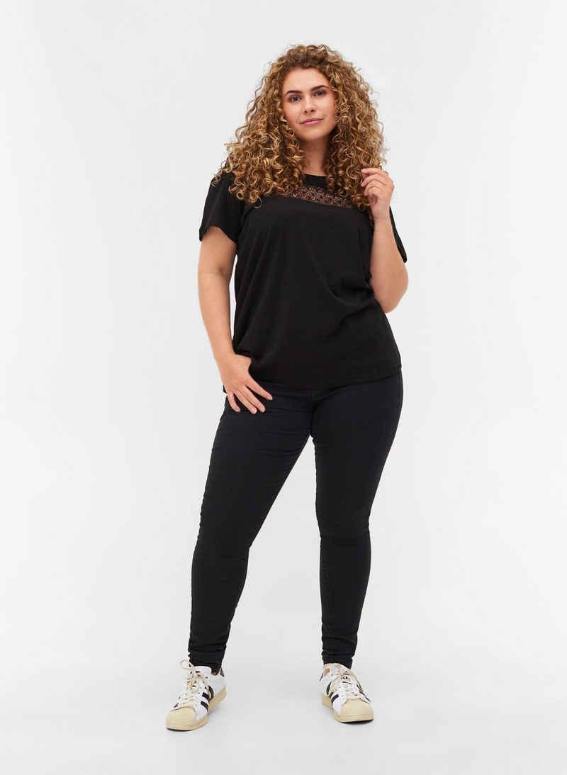 Zizzi T-Shirt Große Größen Damen T-Shirt aus Baumwolle mit Spitze und Rundhals