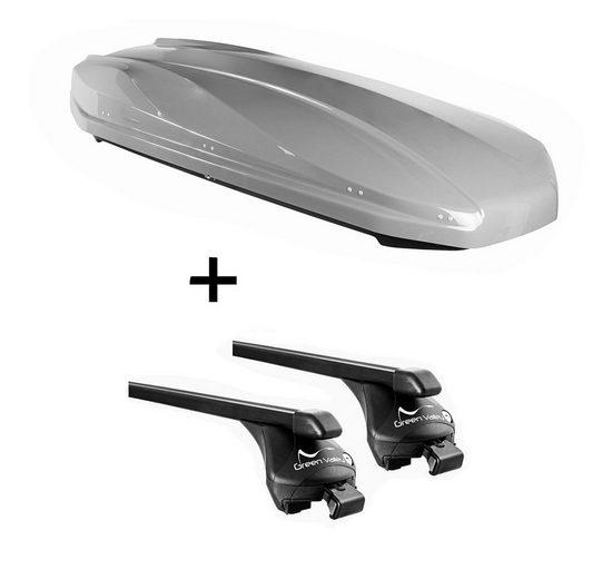 VDP Fahrradträger, DACHBOX STRIKE 440 Liter grau + Relingträger Quick Stahl L kompatibel mit Fiat 500 X ab 2015