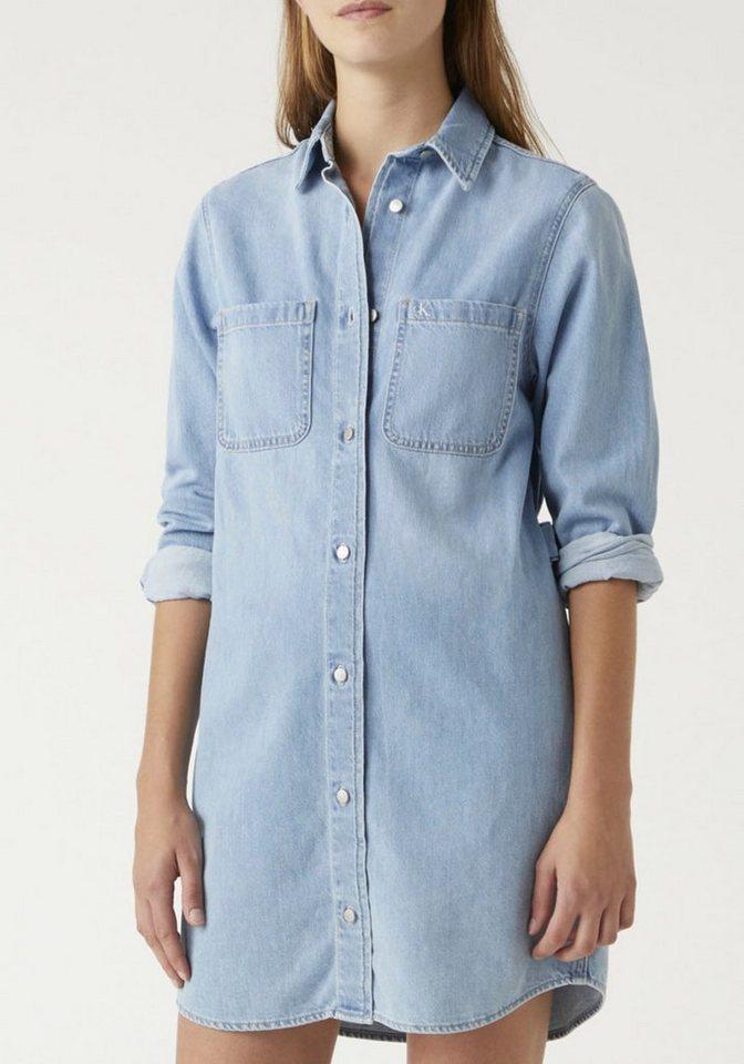 calvin klein jeans -  Jeanskleid »Relaxed shirt dress« mit CK Monogramm Logo-Stickerei