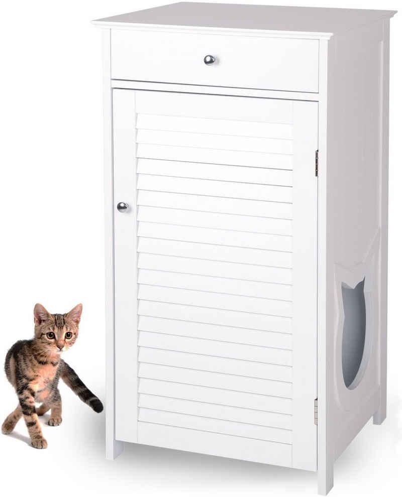 WONDERMAKE Tierhaus »Katzenschrank für Katzentoilette groß hoch aus Holz, Katzenklo-Schrank Kommode mit Schublade und Tür geschlossen, Design Katzen-Haus Toilette Klo XL, 51 x 46 x 96 cm, weiß«