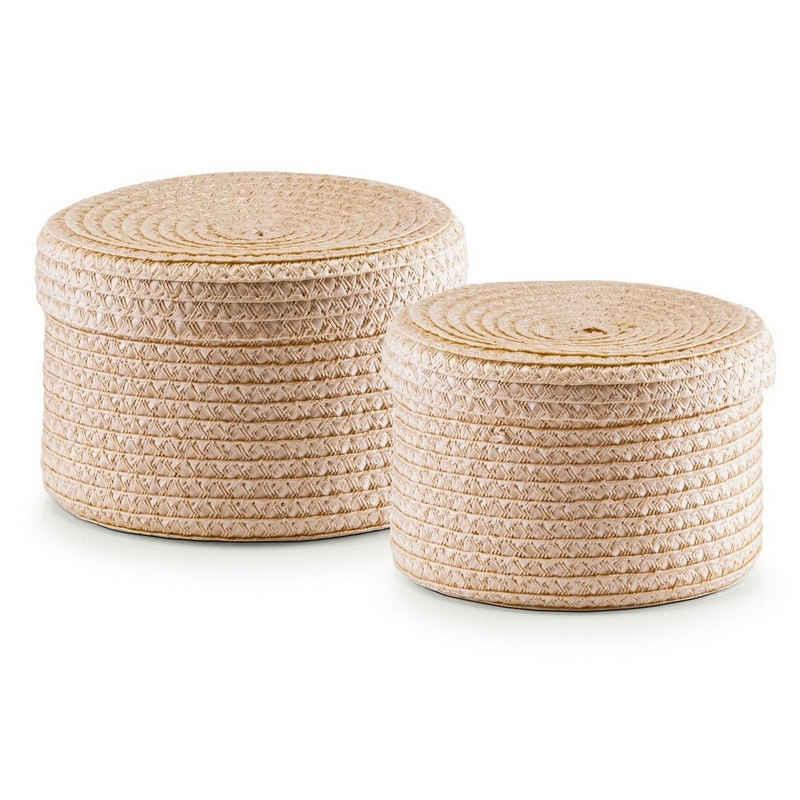 Zeller Present Aufbewahrungskorb »Korb-Set mit Deckel« (Set, 2 Stück), rund, natur