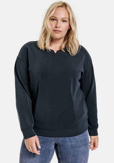 Samoon Sweatshirt mit V-Schlitz am Bund