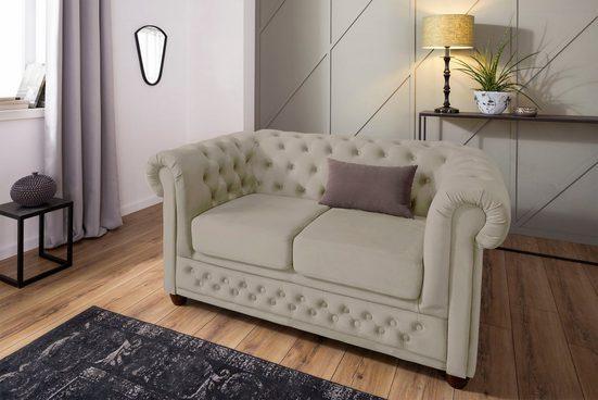 Home affaire 2-Sitzer »New Castle«, mit hochwertiger Knopfheftung in Chesterfield-Design, B/T/H: 148/86/72