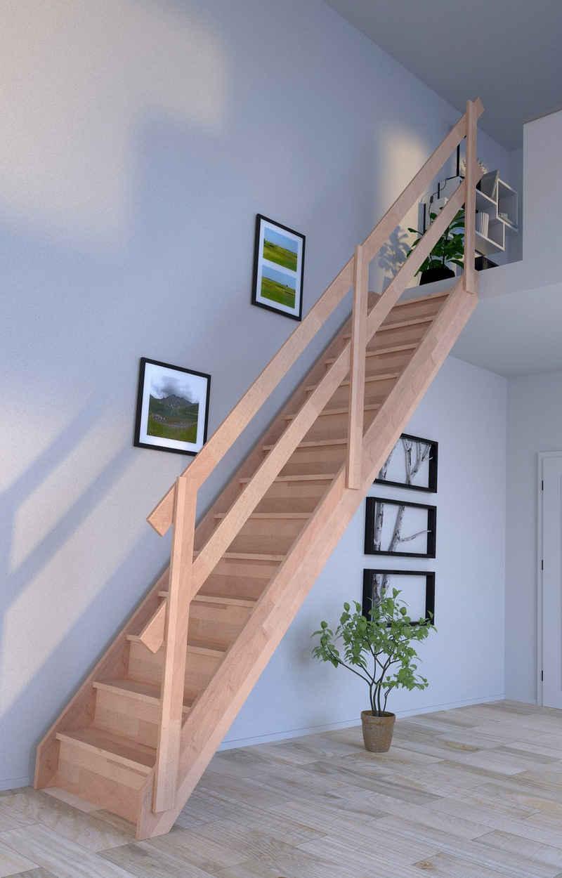 Starwood Raumspartreppe »Rhodos«, für Geschosshöhen bis 300 cm, Stufen geschlossen, Holzgeländer rechts