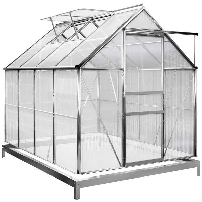 Gardebruk Gewächshaus, Aluminium 4,75m² mit Fundament 250x190cm inkl. 2 Dachfenster Treibhaus Garten Frühbeet Aufzucht 7,63m³