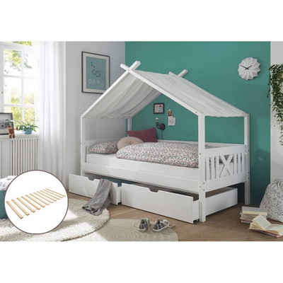 Lomadox Funktionsbett »LUANA-78«, Kinderbett Hausbett 90x200 cm aus Kiefer massiv in weiß, B/H/T: ca. 209/170/98 cm, mit 2 Schubladen, mit Rollrost