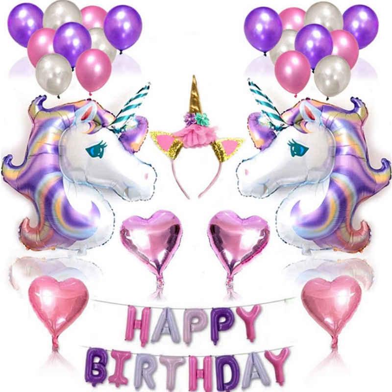 Favson Latexballon »38Pcs Einhorn Luftballons Geburtstag Set Einhorn Party Deko mit Einhorn Stirnband«