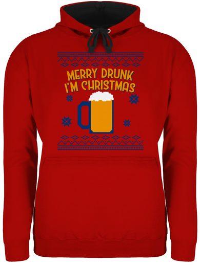 Shirtracer Hoodie »Ugly Christmas Merry Drunk I'm Christmas - Weihnachten & Silvester - Unisex Damen & Herren Kontrast Hoodie«