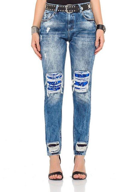 Hosen - Cipo Baxx Bequeme Jeans im rockigen Look › schwarz  - Onlineshop OTTO