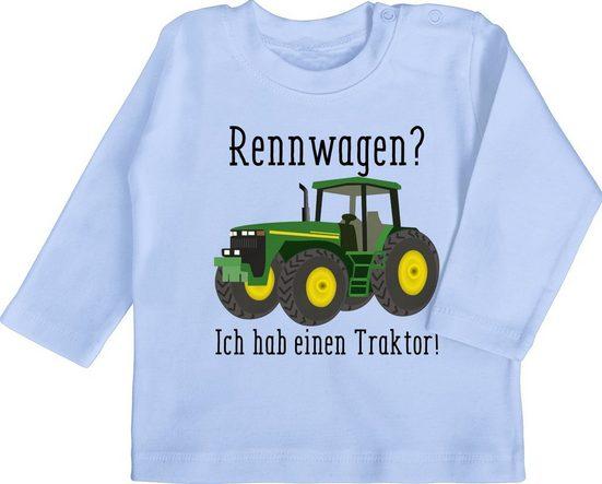 Shirtracer T-Shirt »Rennwagen? Traktor! - Fahrzeuge Baby - Baby T-Shirt langarm« Kleidung Strampler Babykleidung