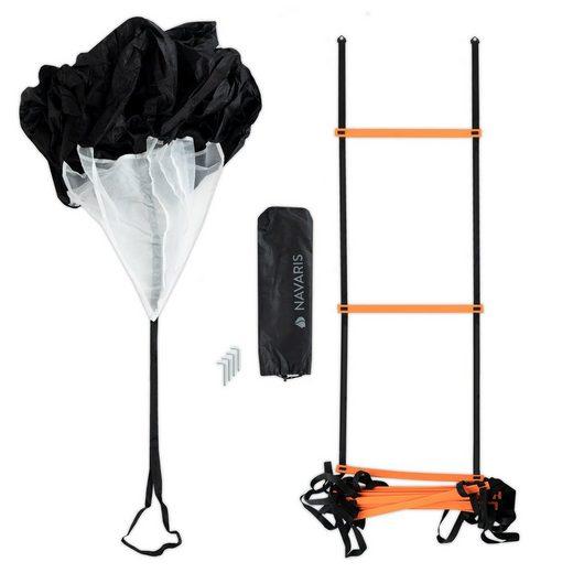 Navaris Koordinationsleiter, Trainingsset Sport - inkl. Koordinationsleiter, Widerstandsfallschrim, Befestigungshaken und Tragetasche - Fußball Agility Ladder