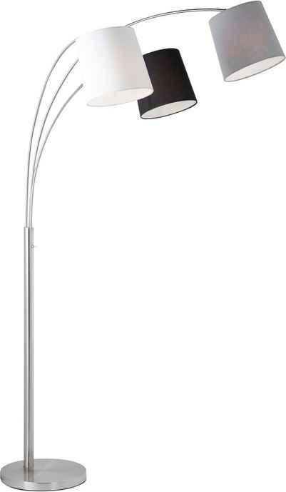 Home affaire Stehlampe »MELVIN«, Farbige Lampenschirme - weiß, grau und schwarz, Kippschalter an der Stehleuchte, Materialmix - Metall und Textil/Stoff