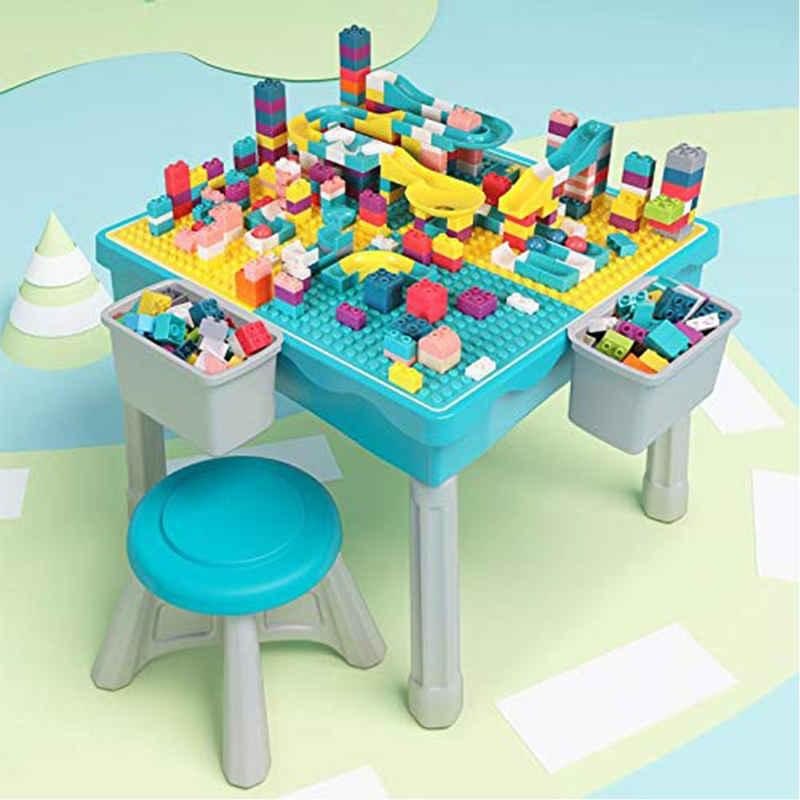 Arkmiido Spieltisch »Aktivitätstisch mit Stuhl«, Kindertisch und Stuhl Set mit 200 Stücke Blocks, 2 Aufbewahrung Box