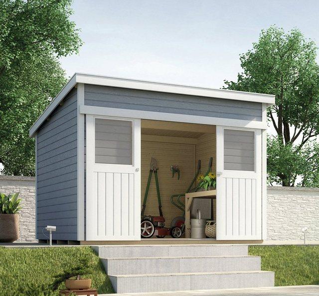 Weka Holz-Gartenhaus Turin A Grau 295 cm x 209 cm