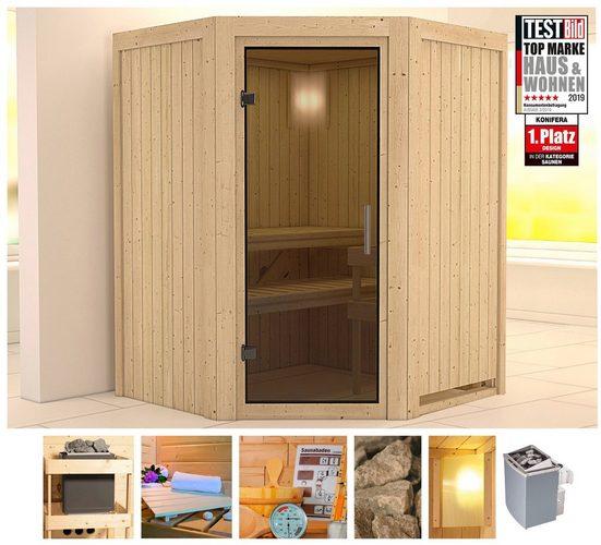 KONIFERA Sauna »Ilja«, 151x151x198 cm, 9 kW Ofen mit int. Strg., Glastür graphit