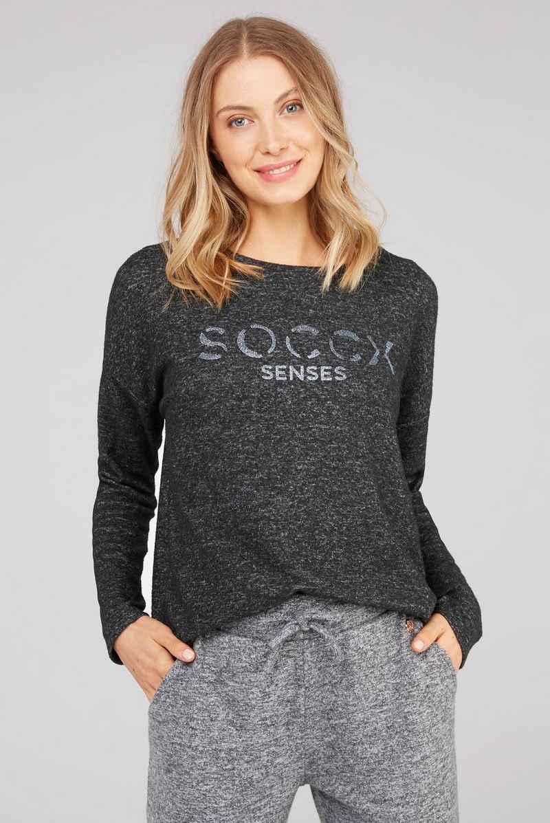 SOCCX Strickfleece-Pullover mit längerer Rückenpartie