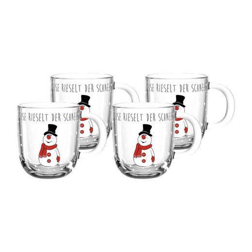 LEONARDO Tasse »GELO Weihnachts Tasse 300 ml Schneemann 4er Set« (4-tlg)