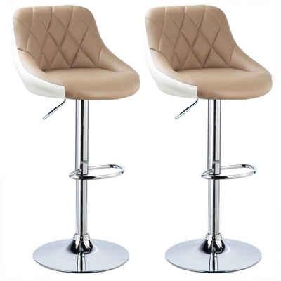 Woltu Barhocker »BH30« (2er-Set), mit Griff zweifarbig Höhenverstellung, verchromter Stahl, Antirutschgummi, pflegeleichter Kunstleder, gut gepolsterte Sitzfläche