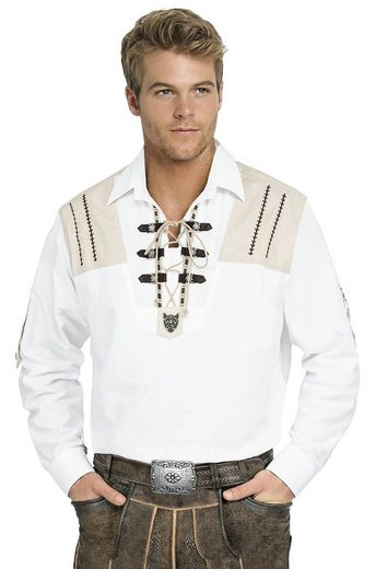 Moschen-Bayern Trachtenhemd »Trachtenhemd Herren Wiesn-Hemd zur Lederhose mit Edelweiß - Herrenhemd Langarm + Kurzarm Krempelarm Weiß-Beige«