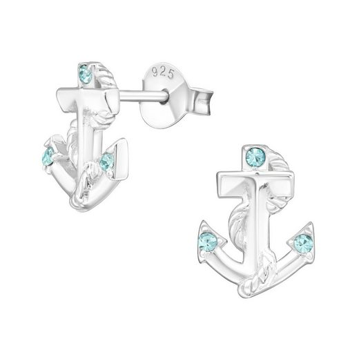 BUNGSA Ohrstecker-Set »Ohrstecker Anker mit türkisem Kristall 925 Silber« (inkl. Schmuckbeutel aus Organza), Ohrschmuck Ohrringe Frauen Geschenk Liebe